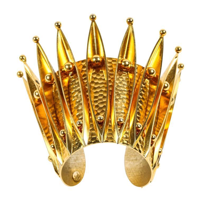 Unique Gold Gilt Crown Cuff Bracelet by Sorrell Originals 1