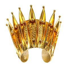Unique Gold Gilt Crown Cuff Bracelet by Sorrell Originals
