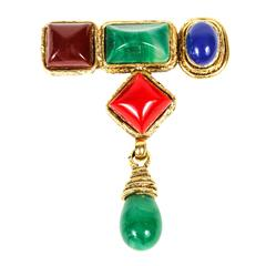 Multi Color and Gilt Metal Brooch by Mercedes Robirosa