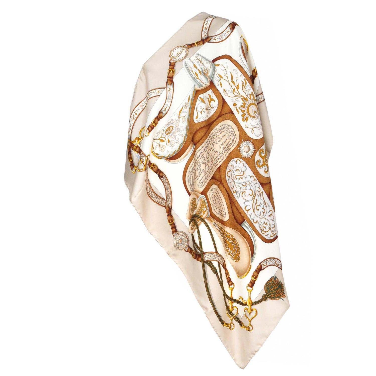 hermes equestrian print scarf for sale at 1stdibs