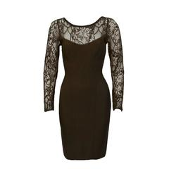 1980's Herve Leger Chocolate Brown Long Sleeve Lace Cocktail