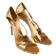 Tom Ford for Gucci Gold Python Jeweled Bamboo Heel Shoes