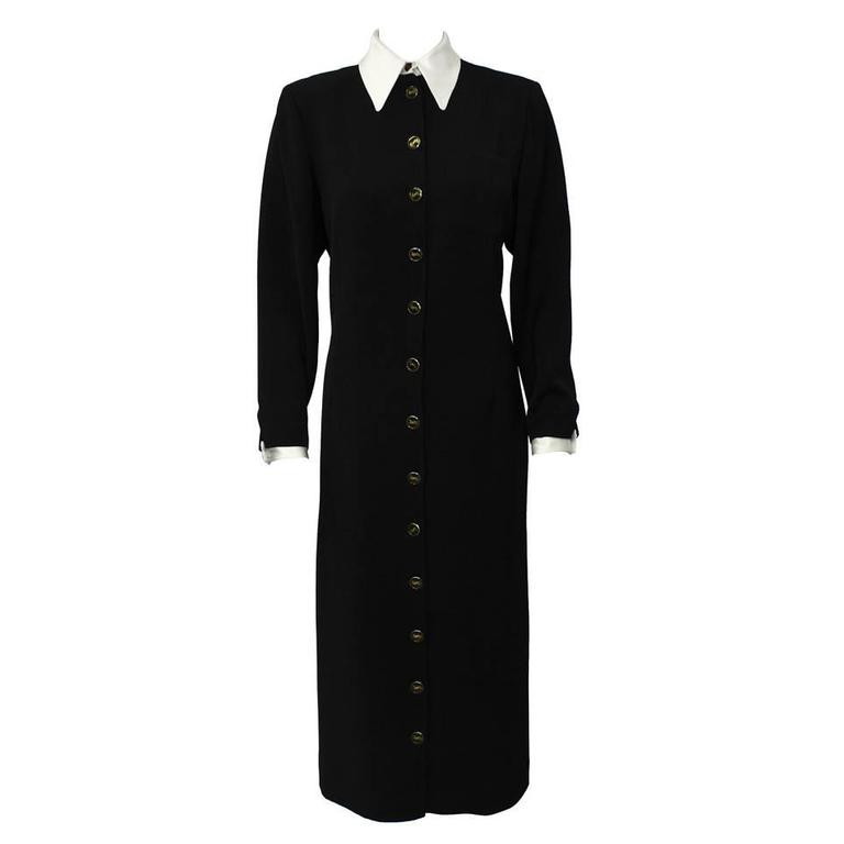 1980's Yves Saint Laurent YSL Black Button Front Shirt Dress 1