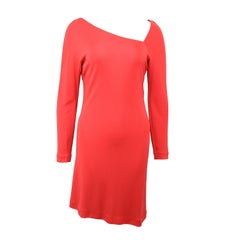 Vintage 90s Gianni Versace Couture Red Asymmetric Dress