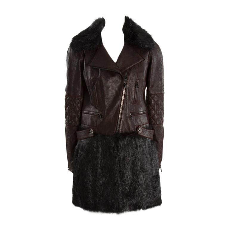 Chanel Runway Leather & Faux Fur Biker Coat, Fall-Winter 2010-2011 For Sale