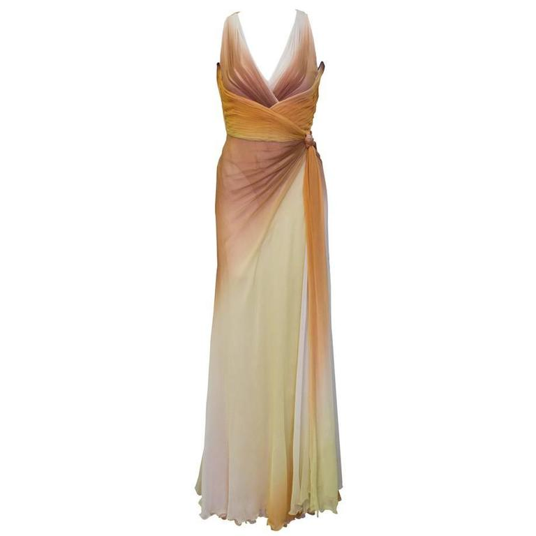 Early 2000's Versace Tan Ombre Gown
