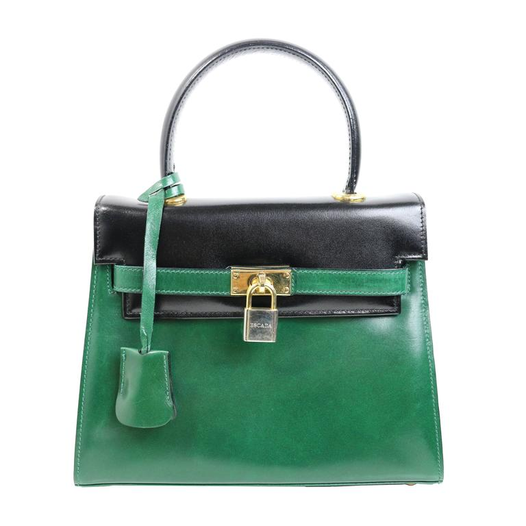Escada Green And Black Patent Leather Handbag For