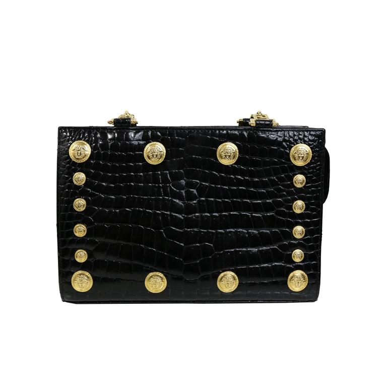 262df6470c Gianni Versace Couture Black Medusa Chain Shoulder Bag For Sale at ...