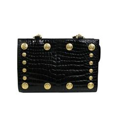 Gianni Versace Couture Black Medusa Chain Shoulder Bag