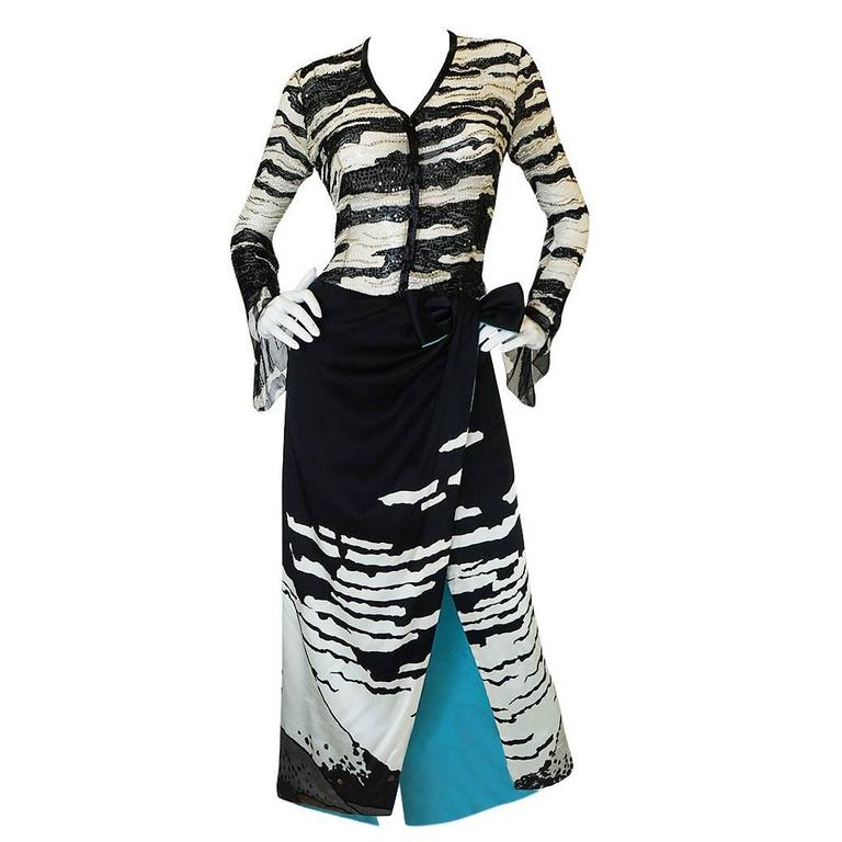 1996 Hanae Mori Haute Couture Beaded Silk Dress 1
