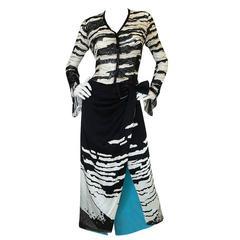 1996 Hanae Mori Haute Couture Beaded Silk Dress