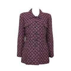 Unworn 1995 Chanel Black Pink Boucle Tweed Jacket
