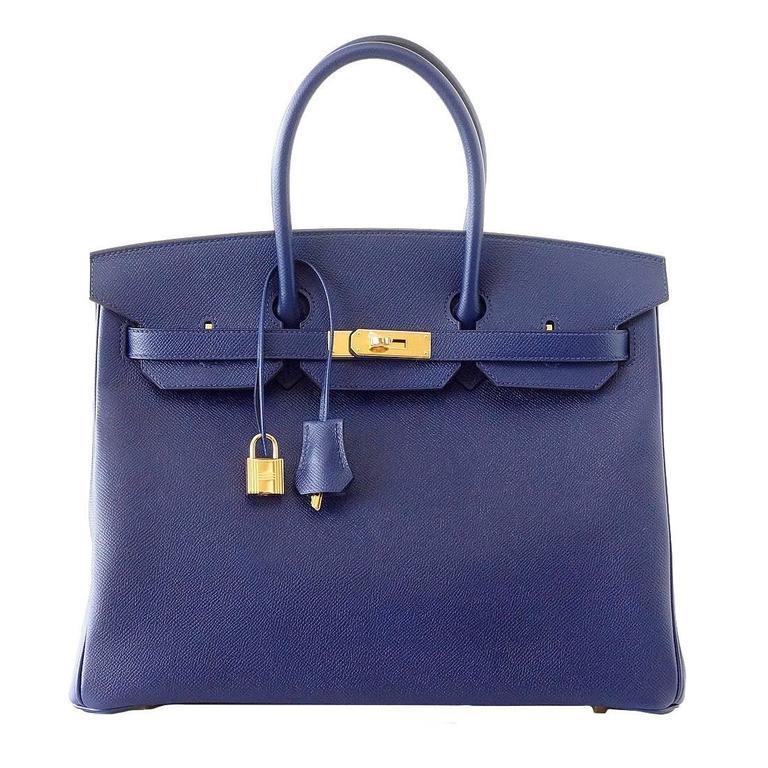 HERMES BIRKIN 35 Bag BLUE SAPPHIRE Epsom Coveted Gold Hardware  1