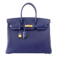 HERMES BIRKIN 35 Bag BLUE SAPPHIRE Epsom Coveted Gold Hardware