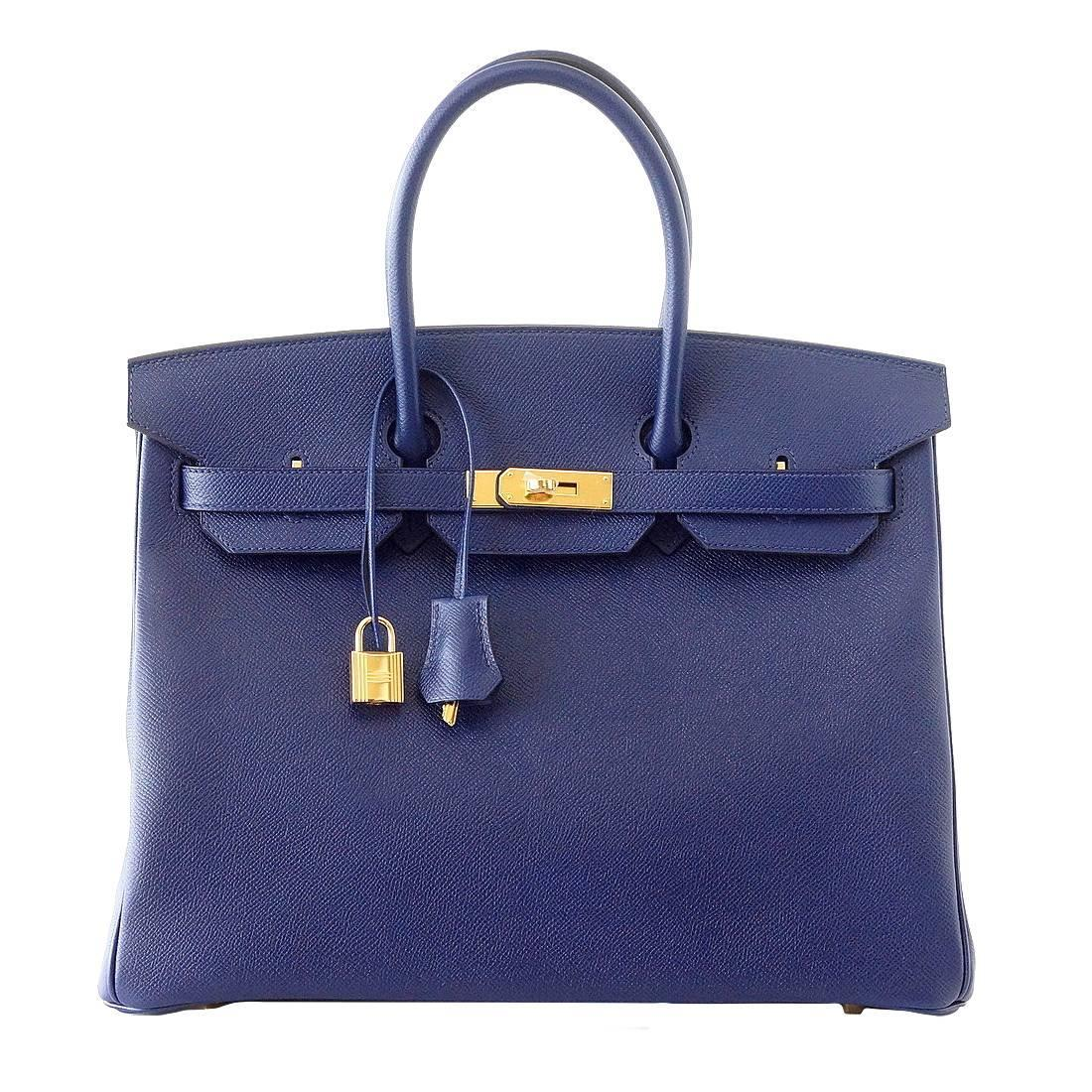 HERMES BIRKIN 35 bag BLEU SAPHIR (SAPPHIRE) epsom coveted gold ...