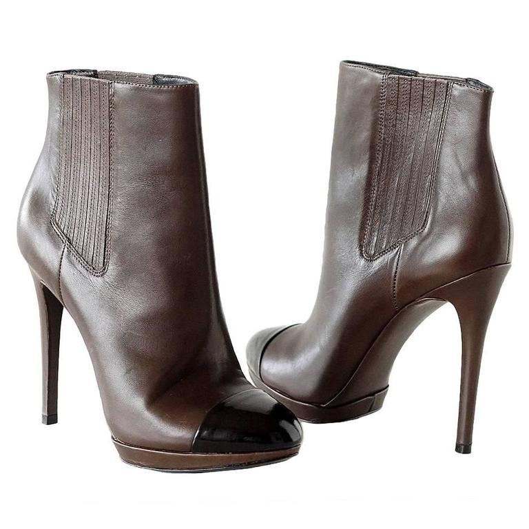 Brian Atwood Shoe Brown Ankle Boot Black Toe Cap  36.5 / 6.5  new