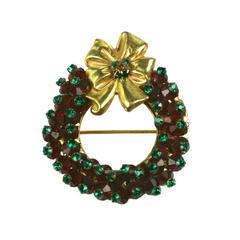 Miriam Haskell Holiday Wreath Brooch