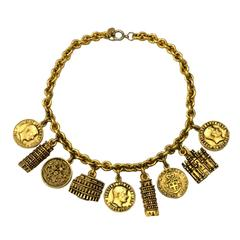 Moschino Bijoux 1980s Italy Goldtone Charm Necklace