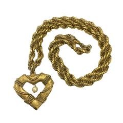 Moschino 1980s Goldtone Lifesaver Heart Necklace
