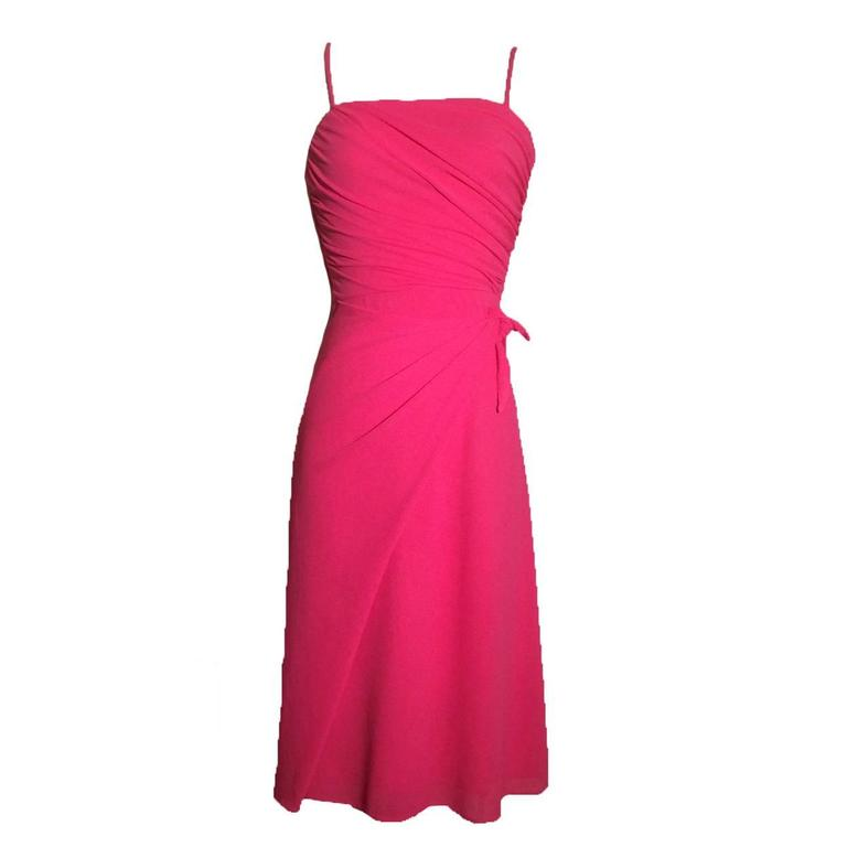 Frank Usher 1970s Hot Pink Cocktail Dress 1