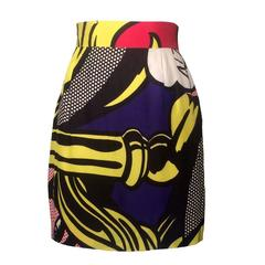 Moschino Cheap & Chic 1990s Lichenstein Comic Print Mini Skirt