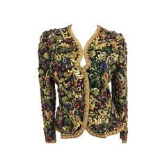 1983 Oscar de La Renta Heavily Embroidered and Beaded Evening Jacket