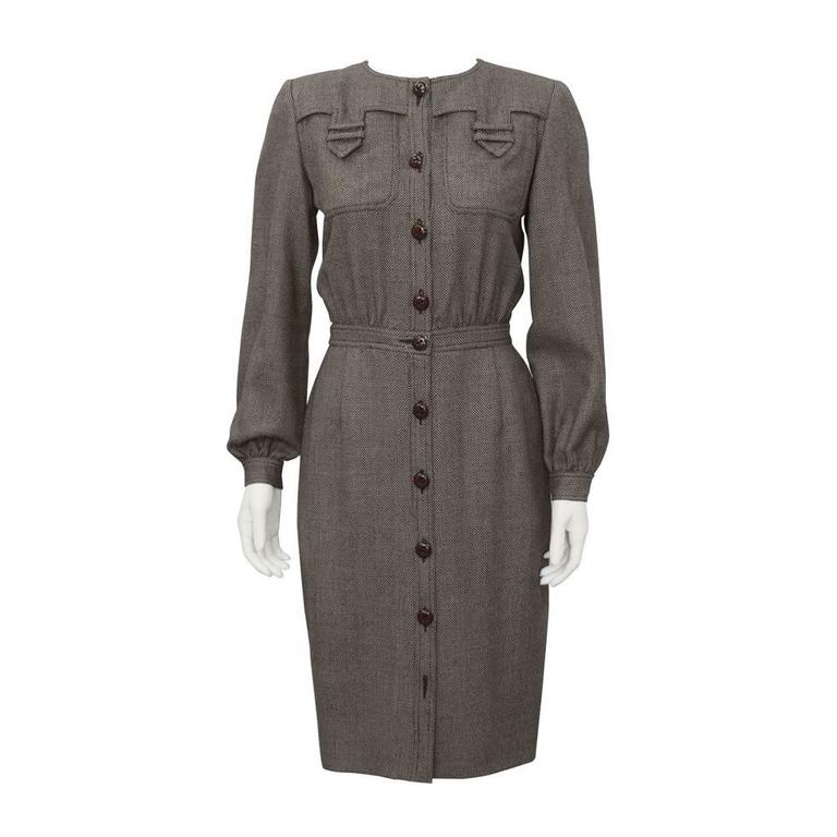 1980's Valentino Brown Wool Shirtdress For Sale