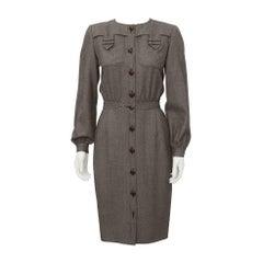 1980's Valentino Brown Wool Shirtdress