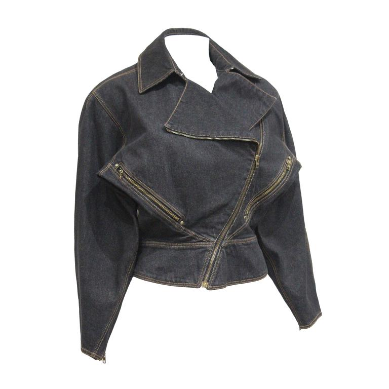 Alaia denim motorcycle jacket, c. 1980s