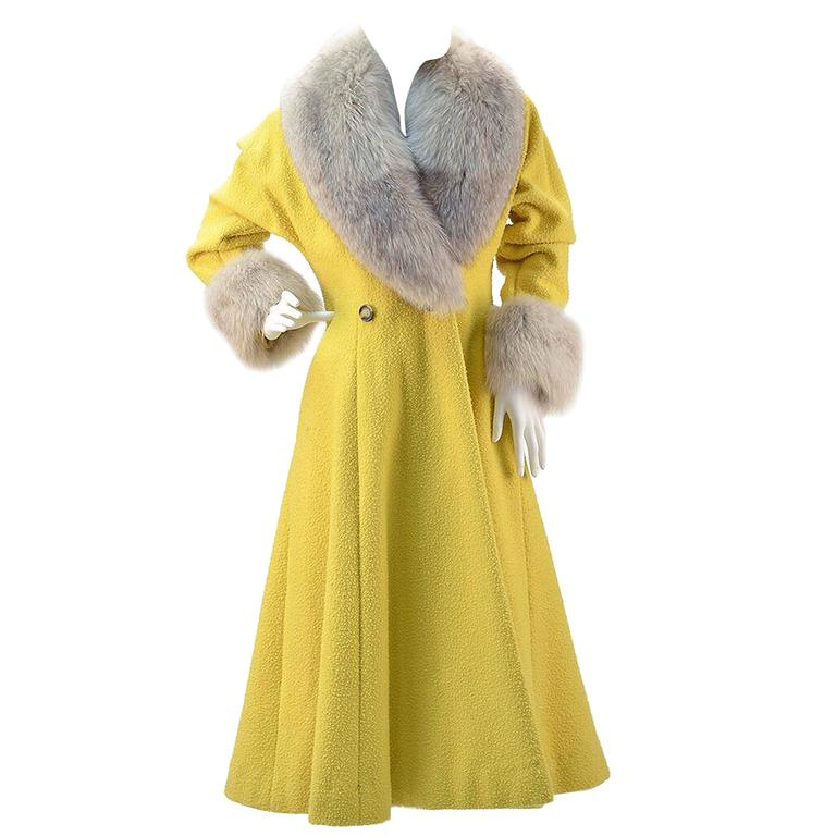 Custom Canary Yellow Boucle Wool Coat with Grey Fox Fur Collar and Cuffs For Sale