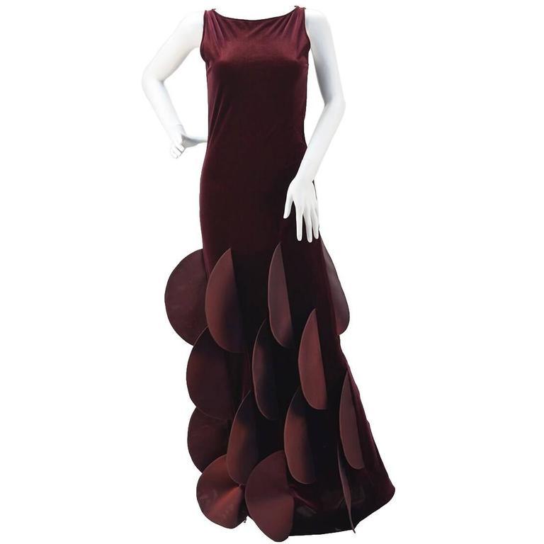1990s Pierre Cardin Evolution Burgundy Stretch Velvet Evening Gown For Sale