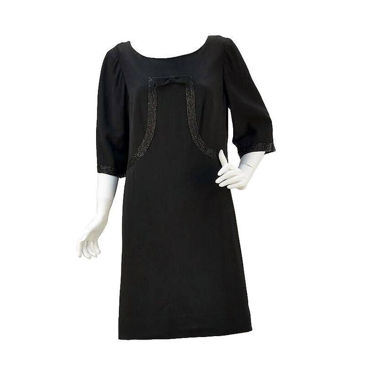 91bb5fb38e3b 1960s Norman Hartnell for Neiman Marcus Black Wool Beaded Dress For Sale
