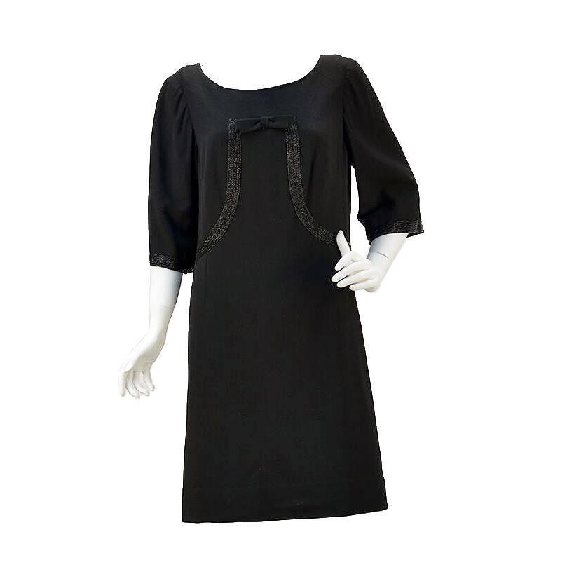 1960s Norman Hartnell for Neiman Marcus Black Wool Beaded Dress