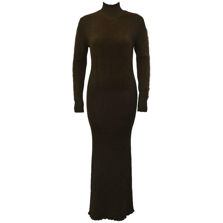 1980s Jean Paul Gaultier Brown Knit Maxi Dress