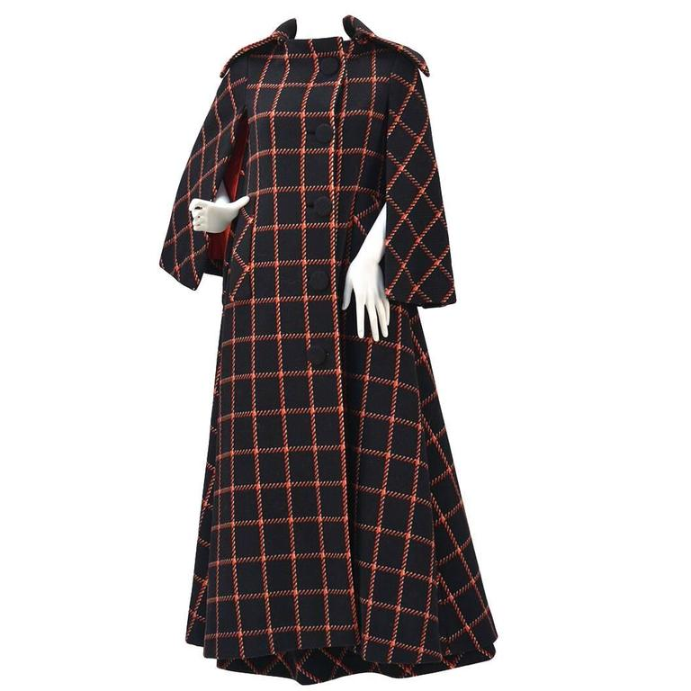 1970s Pauline Trigere Black and Red Plaid Wool Cape and Skirt  For Sale