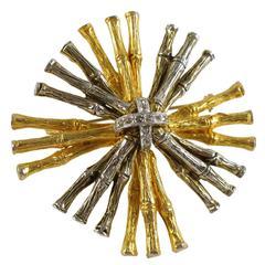 Mimi di N Gilt & Silver Metal Bamboo Brooch Pin
