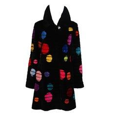 ZUKI Onyx Sheared Beaver 'Bubbles' Coat Made to Order
