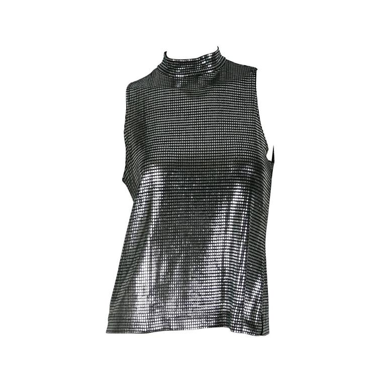 Paco Rabanne Silver Foil Sleeveless Top