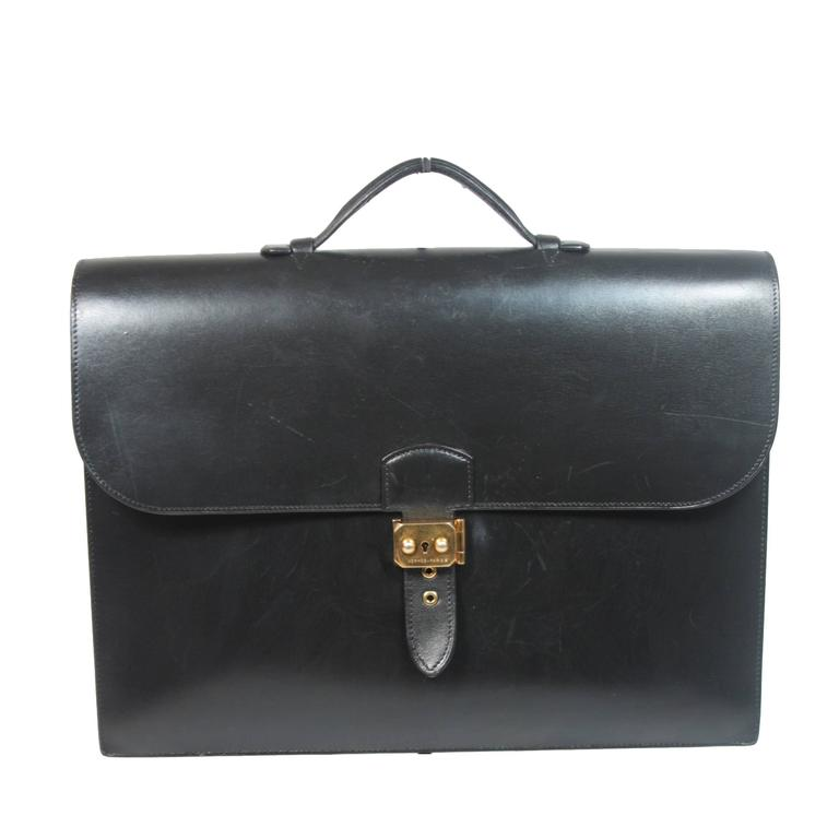 HERMES 'Sac A Depeche' Black Box Leather Briefcase 'A0U' 1997 Large  For Sale