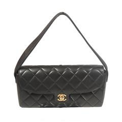 CHANEL Black Lambskin Classic Diamond Quilted Purse with Mirror Detail