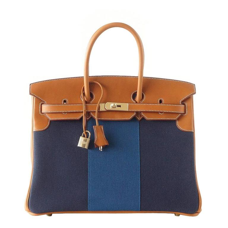 Hermes Birkin 35 Bag Blue Flag Toile Barenia Leather Permabrass Limited Edition 1
