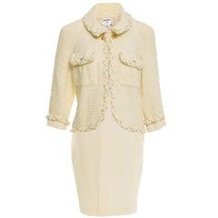 Chanel '07 Runway Cream Wool Skirt Suit sz FR46