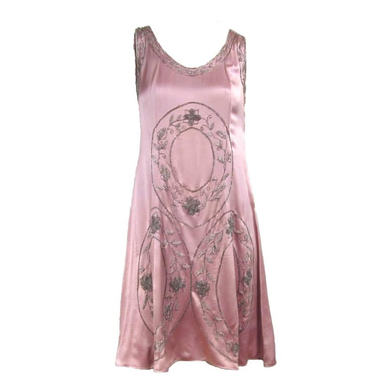 """1920s Pink Silk Beaded """"Gatsby"""" Dress For Sale"""