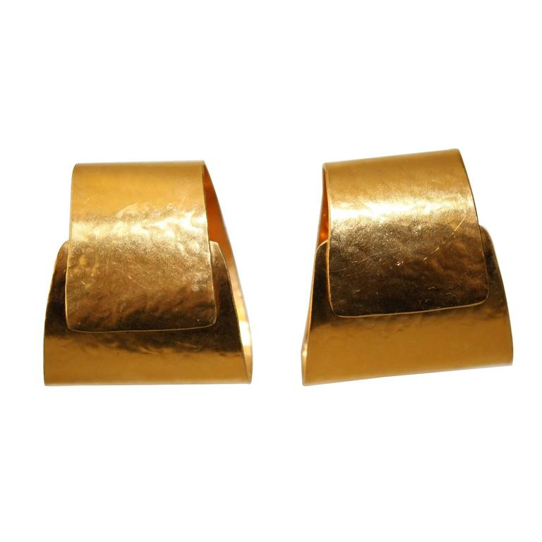 Herve van der Straeten Gilded Brass Folded Clip Earrings 1