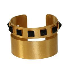 Herve van der Straeten Gilded Brass and Black Onyx Cuff