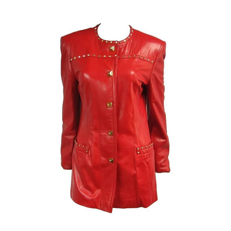 Red Leather 1990s Escada Gold Studded Blazer Jacket  1