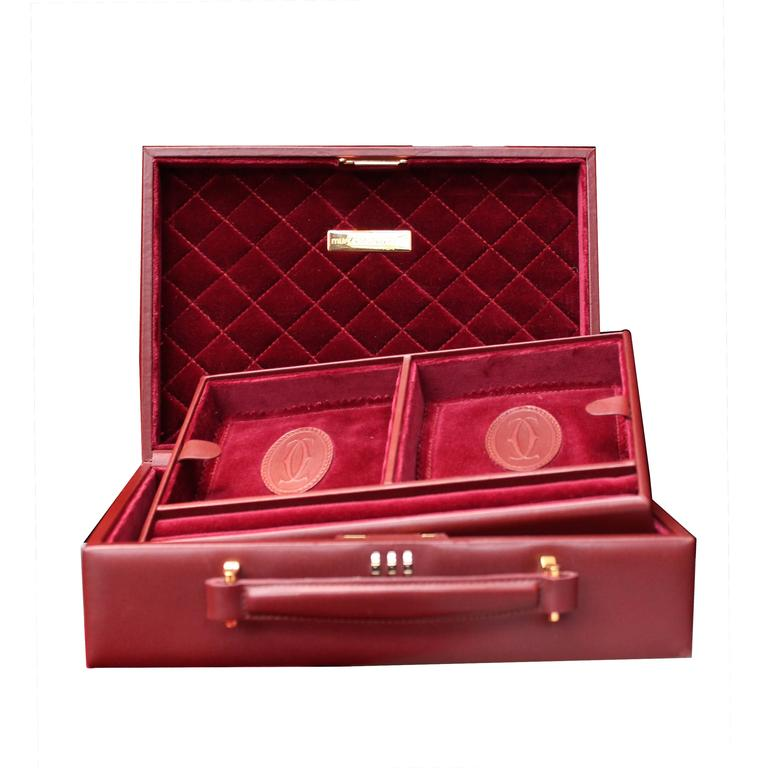 1980 Cartier Jewelry Travel Box in Burgundy Leather and ...