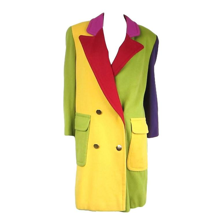 1980s Bill Blass Color Block Wool Jacket For Sale