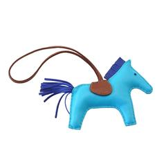 Hermes Rodeo MM Bleu Aztec Horse Bag Charm for Birkin or Kelly