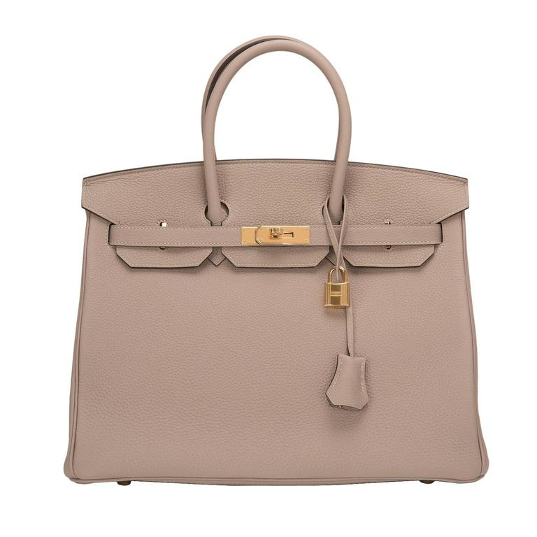 Hermes Gris Tourterelle Togo Birkin 35cm Gold Hardware For Sale